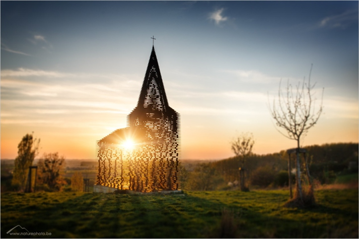 "This massive piece of artwork called ""Reading Between the Lines"" by Gijs Van Vaerenbergh in Borgloon, Belgium."