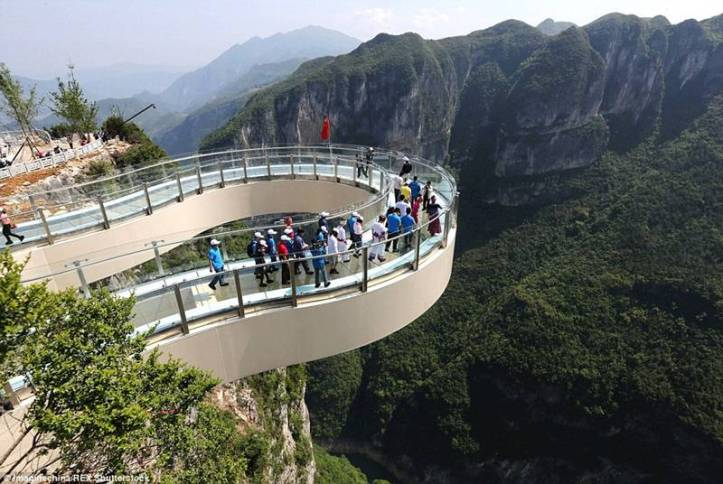 he world's longest glass skywalk at the Longgang National Geological Park in city of Chongqing, China