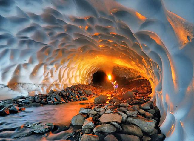 Inside an ice cave under a volcano in Kamchatka