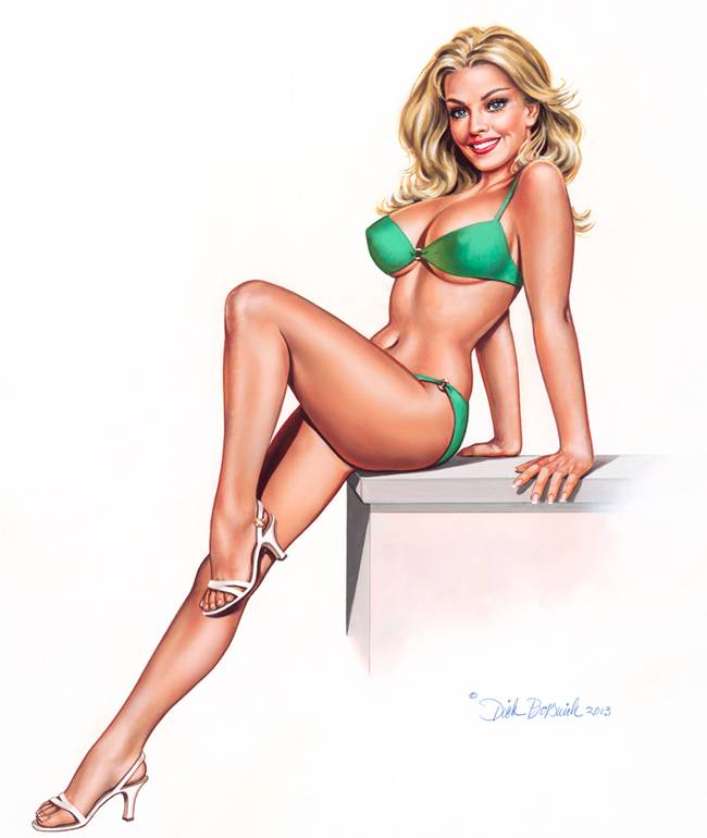 The pin-up art is a combination of brilliant lighting, vivid colours, superior craftsmanship and beautiful models - his vivacious, spirited ideals of American femininity.
