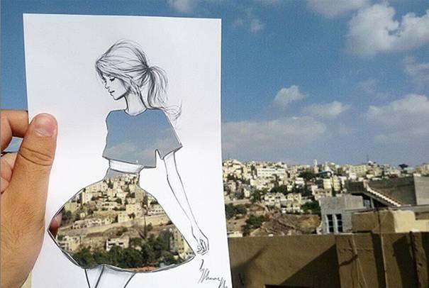 Shamekh Bluwi Fashion sketches illustrating with urban images