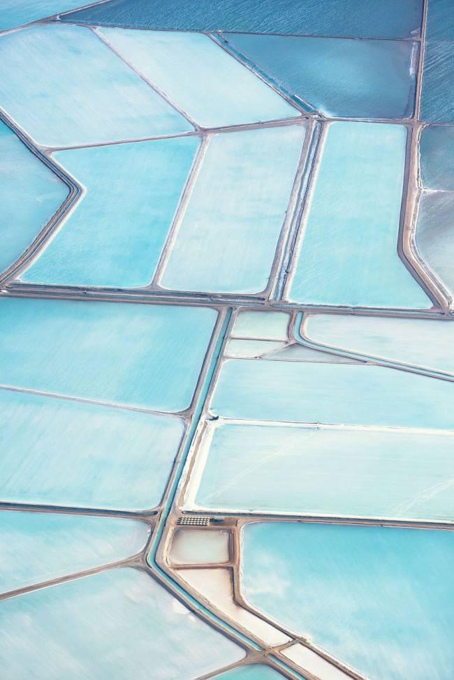 Aerial view of blue salt field of Australia