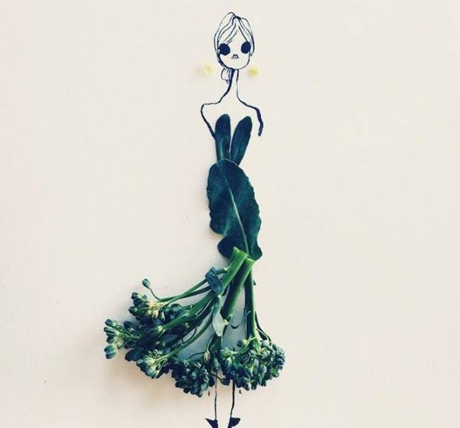 Fashion Illustrations made with fruits and vegetables by Gretchen Röehrs