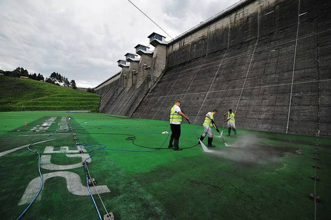 The largest ecological mural in Europe at the dam in Solina.