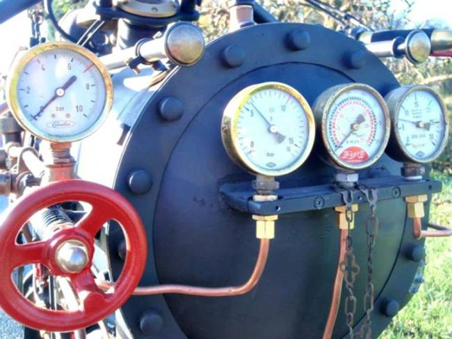 Bike-monster on the steam engine