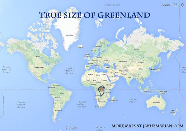 The size of Greenland and Russia in comparison to Africa
