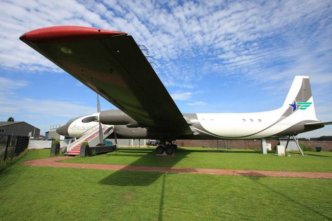 Luxury hotel in old Airplain Ilyushin 18, aircraft turn into luxury hotel