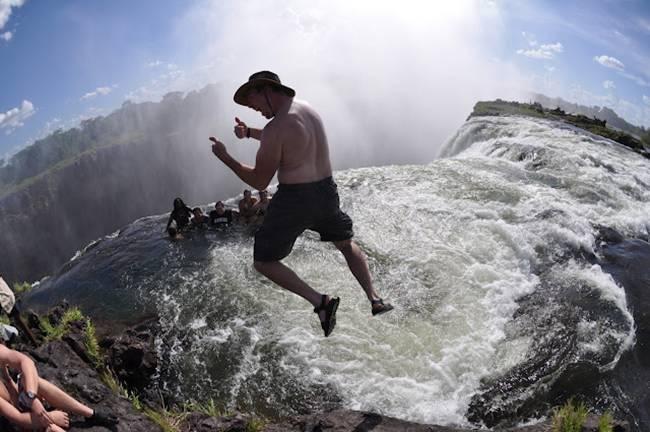 Swimming in The Devil's Pool at Victoria Falls