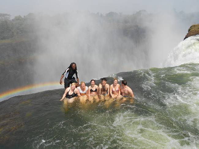 Swimming in The Devil's Pool at Victoria Falls