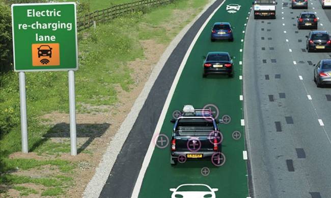 Road that recharging the electric cars