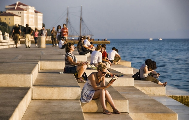 sea organ in the Croatian city of Zadar and creates a soothing and harmonizing sounds, using wind and waters of the Adriatic Sea.