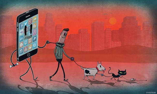 15 satirical illustrations that reveal the effects of addiction of technology