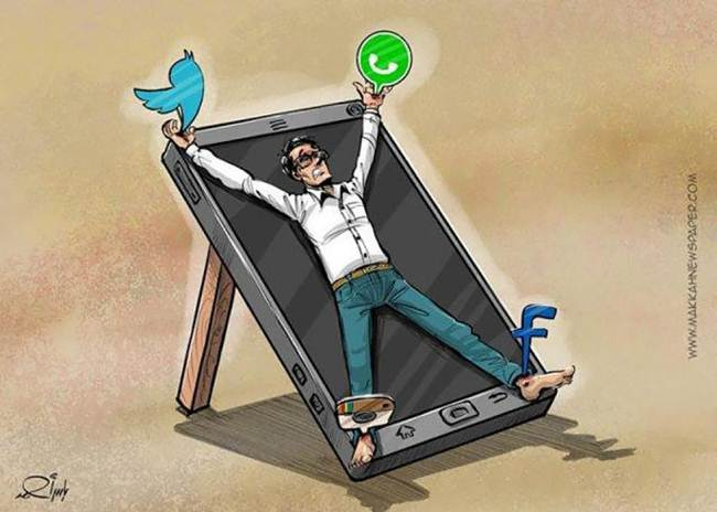 16 satirical illustrations that reveal the effects of addiction of technology