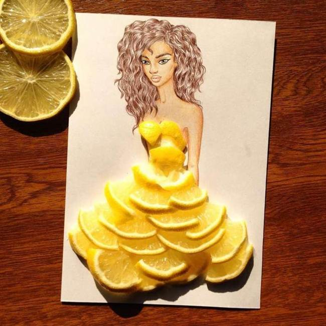 Appetizing dresses made out of food