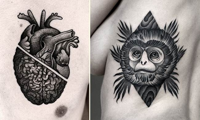Sensational Black and White Tattoo By Kamil Czapiga