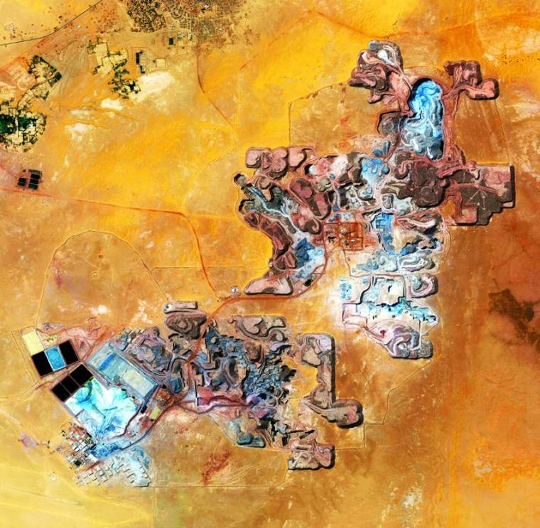 Aerial view of Uranium mine in the town of Arlit, Niger.