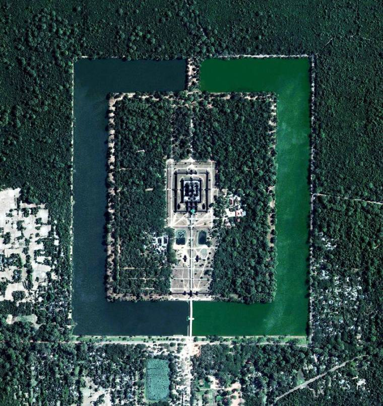 Aerial view of The giant temple complex of Angkor Wat in Cambodia.