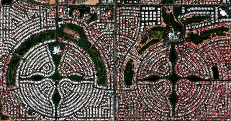 Aerial view of Symmetrical settlement in Arizona.