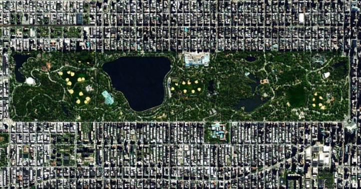 Aerial view of Central Park in New York.