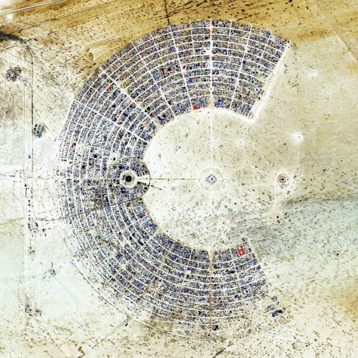 "Aerial view of the festival ""Burning Man"" - the most unusual festivals in the world. At the Black Rock Desert in Nevada"