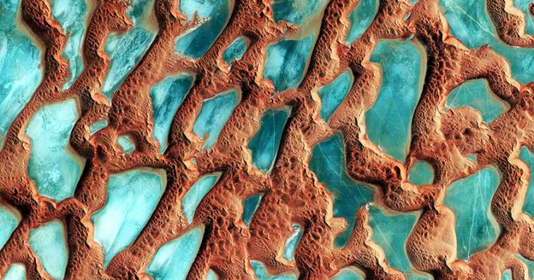 Aerial view of Sandy desert Rub 'al Khali in the Middle East