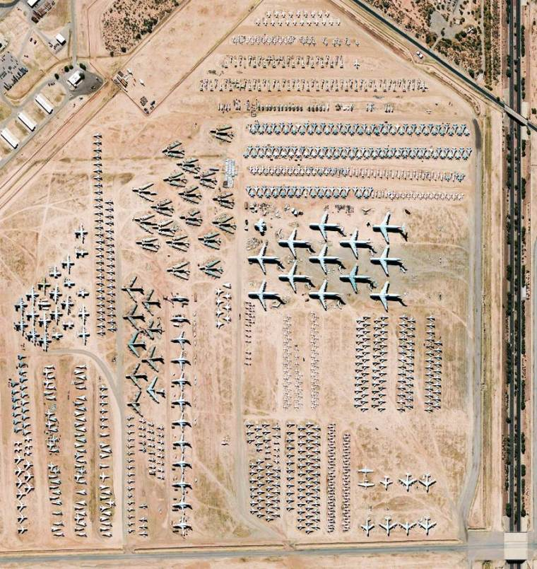 Aerial view of the largest airplane graveyard in the world. The airbase USAF Davis-Monthan Air Force Base, located in the Arizona desert, in the city of Tucson.