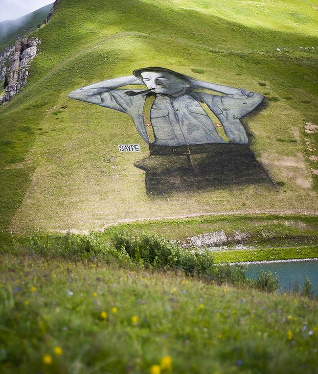 10,000 Square Meter Impressive graffiti on the mountain of Swiss Alps