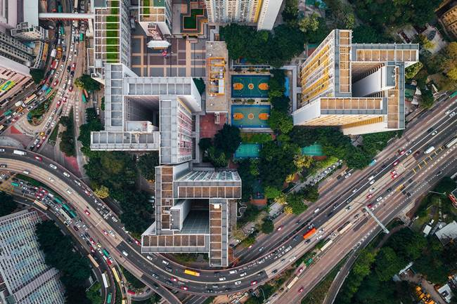 Aerial view of Hong Kong show the city's senseless urban planning