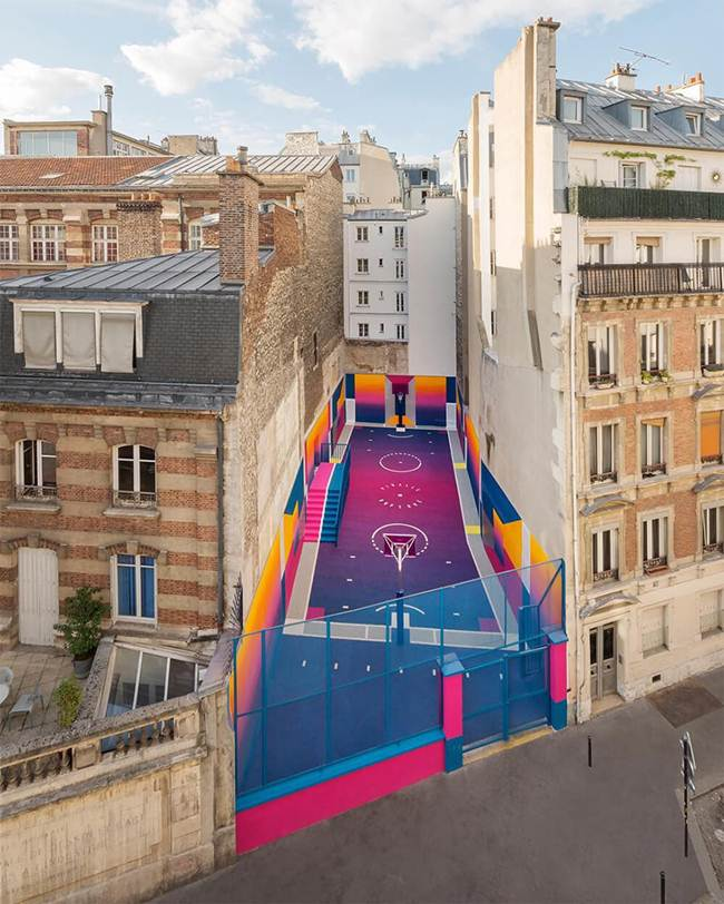 Pigalle's Colorful Basketball Court in Paris