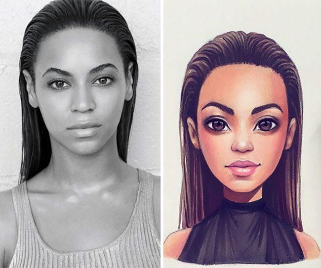 Russian artist Lera Kiryakova transforms celebrities into beautiful illustrations