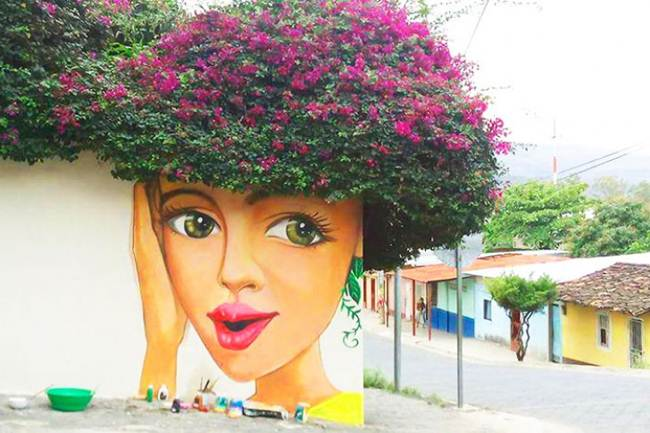 Fantastic street art scenes are an amazing combination of art and nature