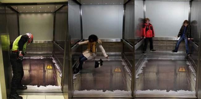 Realistic 3D graffiti in the elevator