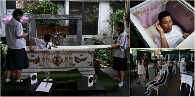 """""""Death Cafe"""" in Bangkok, where customers can relax in a coffin"""