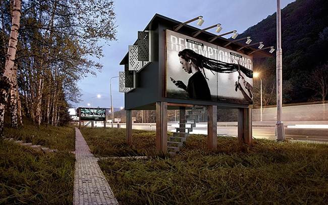 Residential house inside a Billboard, in Slovakia