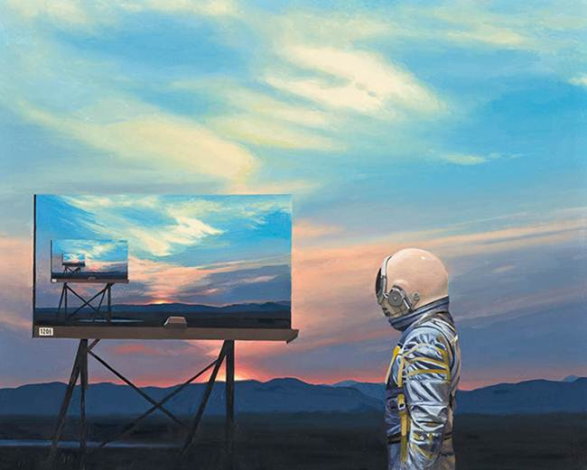 Wandering lonely astronaut on the wreckage of civilization