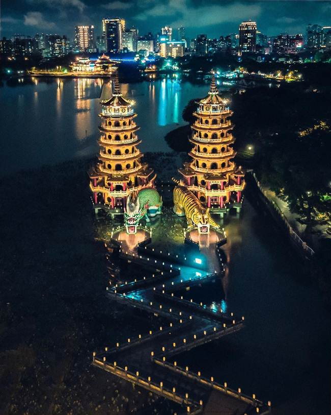 18. Dragon and Tiger Pagodas, Lotus Lake, Kaohsiung, Taiwan (at night)